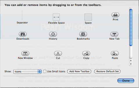 Mac Firefox Customization Dialog